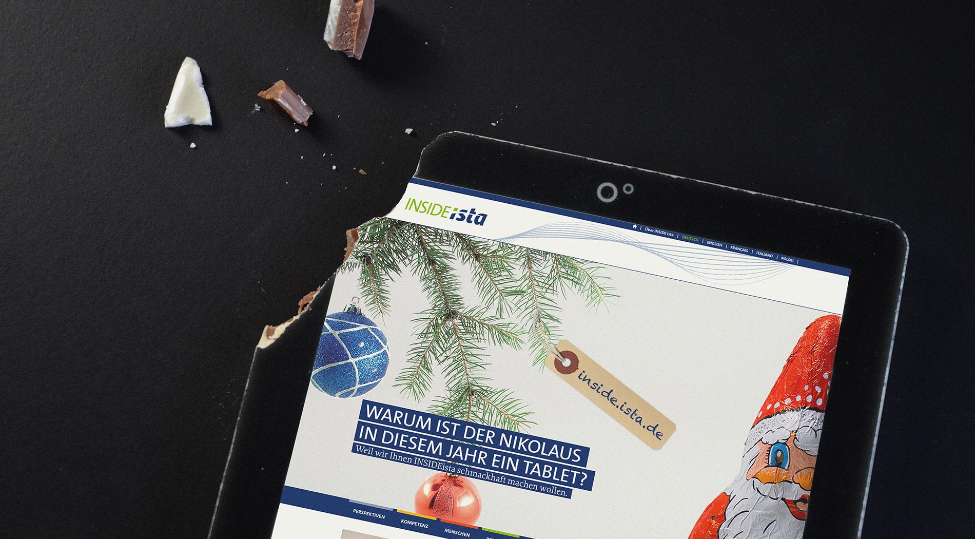 Der Abschied vom heiß geliebten Print-Magazin wird den ista Mitarbeitern mit einem Tablet aus Schokolade schmackhaft gemacht