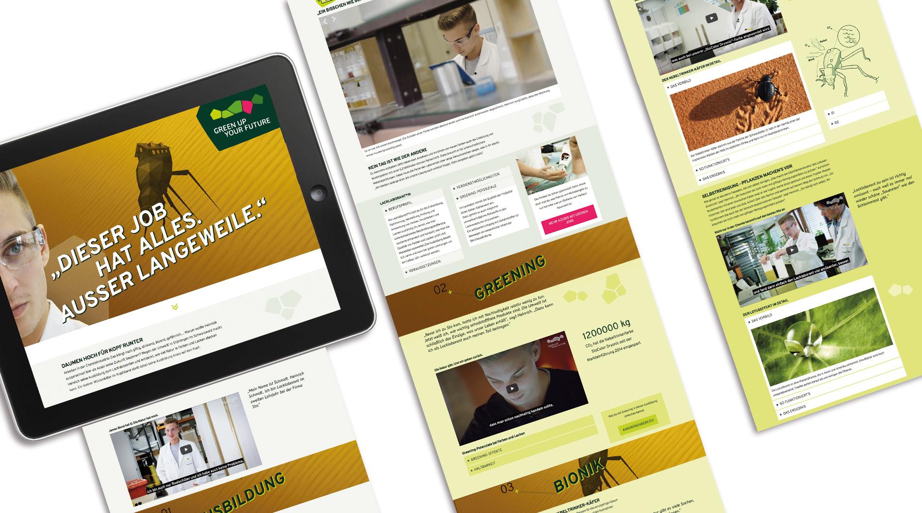"""Multimediales Scrollytelling: 15 Cases zu """"Greening in jugendlichen Ausbildungsberufen"""" – begeisternd aufbereitet mit Videos, Slideshows, Infografiken und Datenbank-Logik  zur  individuellen Jobabfrage"""