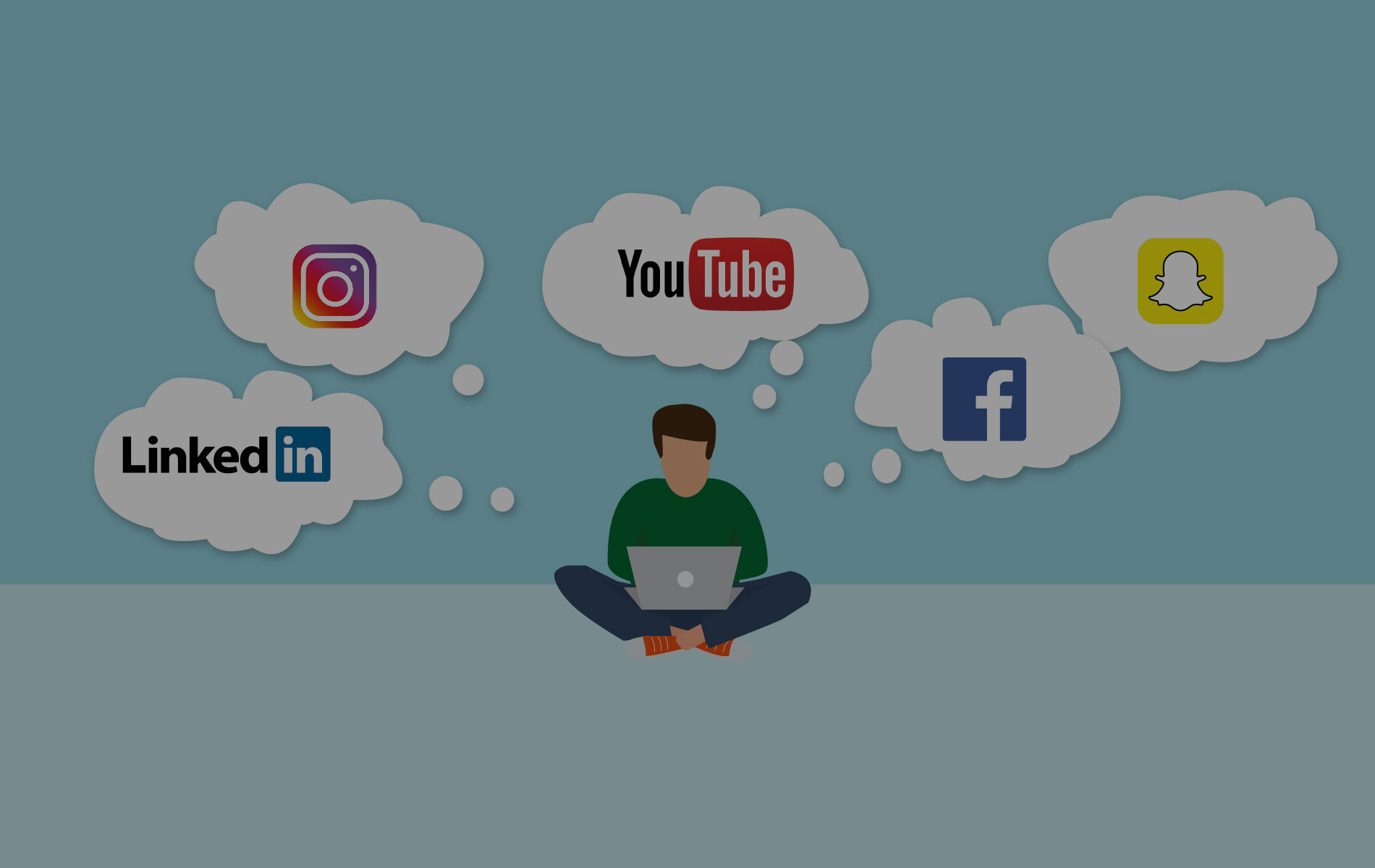 verschiedene clouds mit social media logos